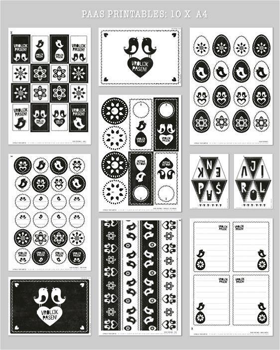 Free Printables Pasen - Gratis paas printables - Monochroom zwart-wit