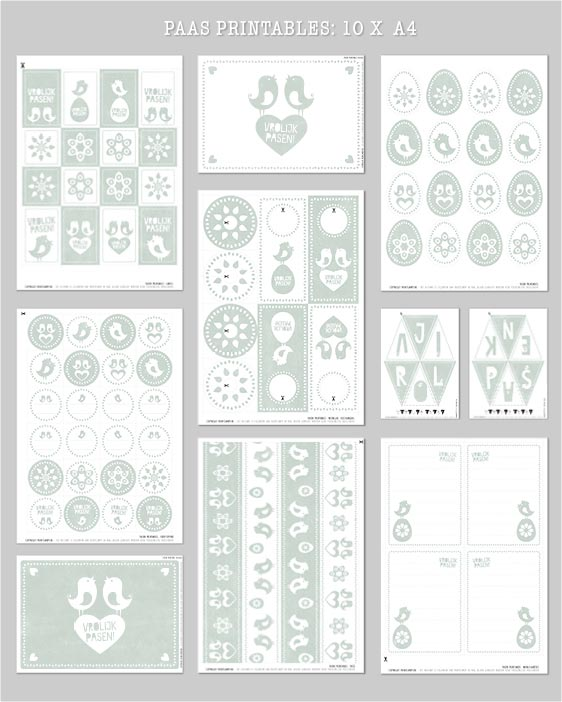 Free Printables Pasen - Gratis paas printables - 10 x A4 - mint groen