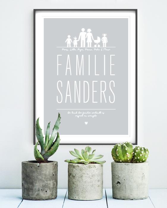 Familie Poster, gepersonaliseerd met familienaam en eigen tekst