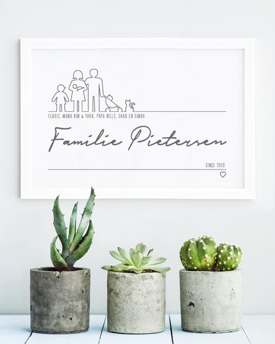 Familie Poster met lijn icoontjes - gepersonaliseerd