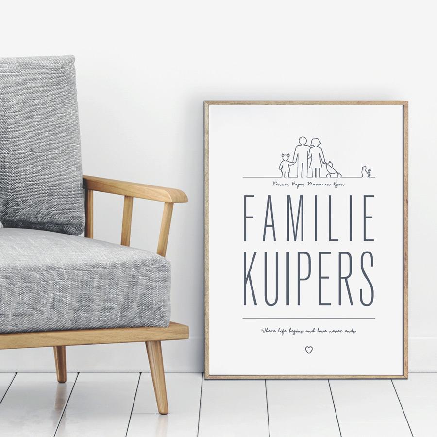 Familie Poster zwart wit gepersonaliseerd