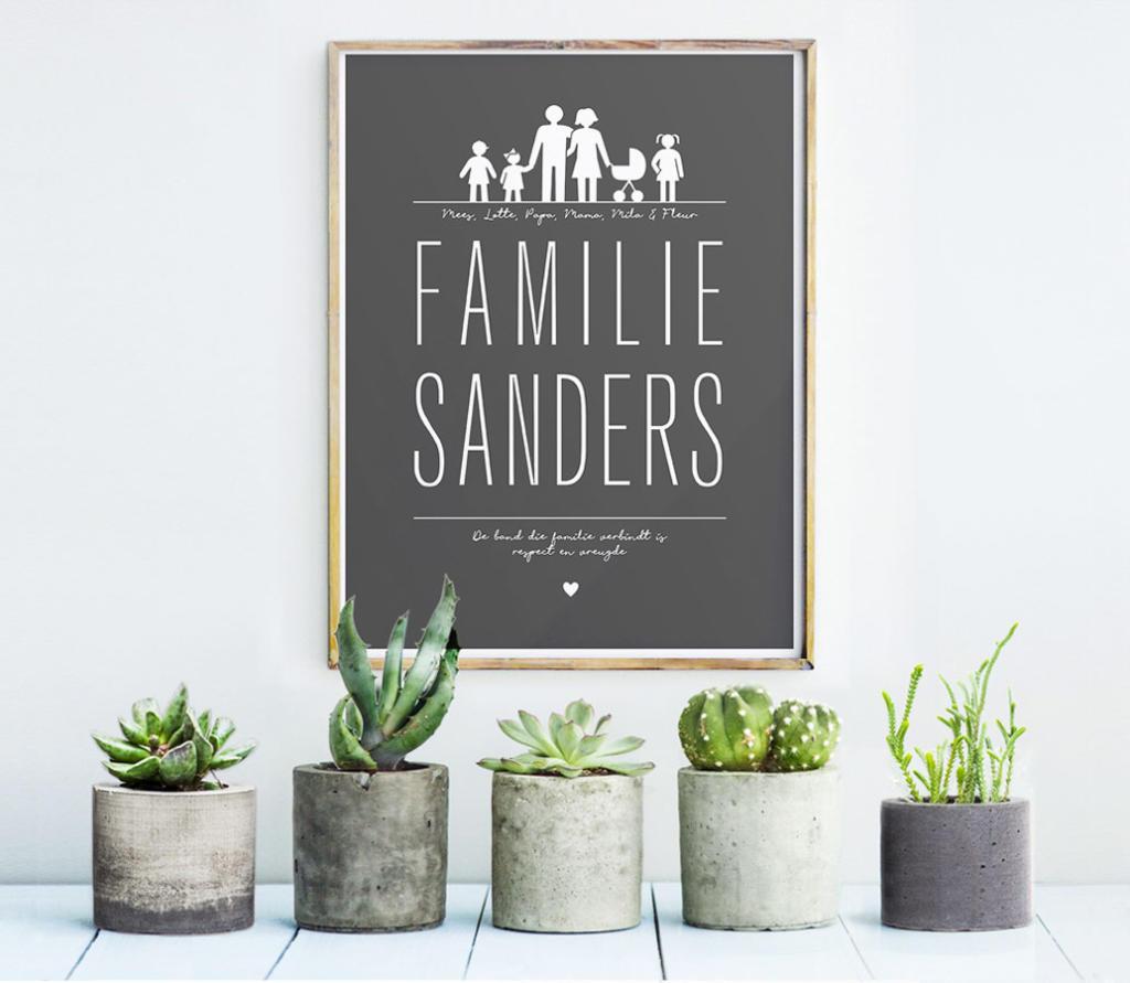 Gepersonaliseerde familie poster met namen en eigen gezinssamenstelling | Printcandy