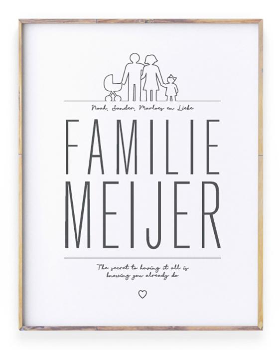 Familie Poster maken in zwart wit of kleur, gepersonaliseerd met familienaam en eigen tekst