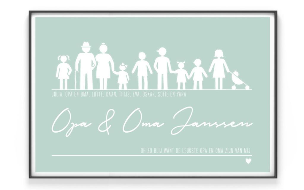 Gepersonaliseerde Familie Poster voor opa en oma met gekleurde achtergrond van Printcandy