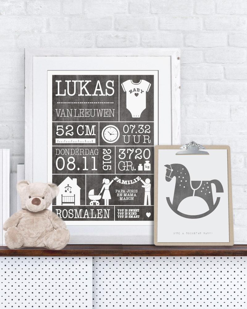 geboorteposter met eigen naam en tekst - zelf online zwart-wit poster maken voor baby en kinderkamer bij printcandy