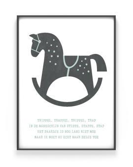 Hobbelpaard poster met eigen tekst - zelf online zwart-wit poster kinderkamer maken bij Printcandy