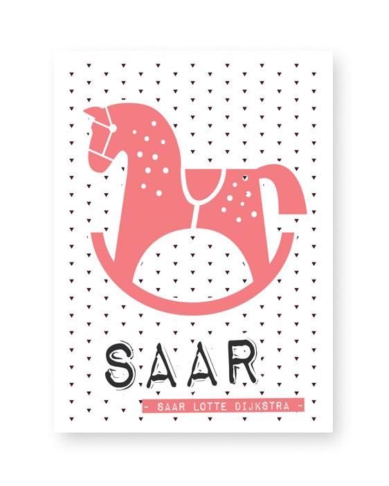 Naamposter met Hobbelpaard voor de kinderkamer | Printcandy