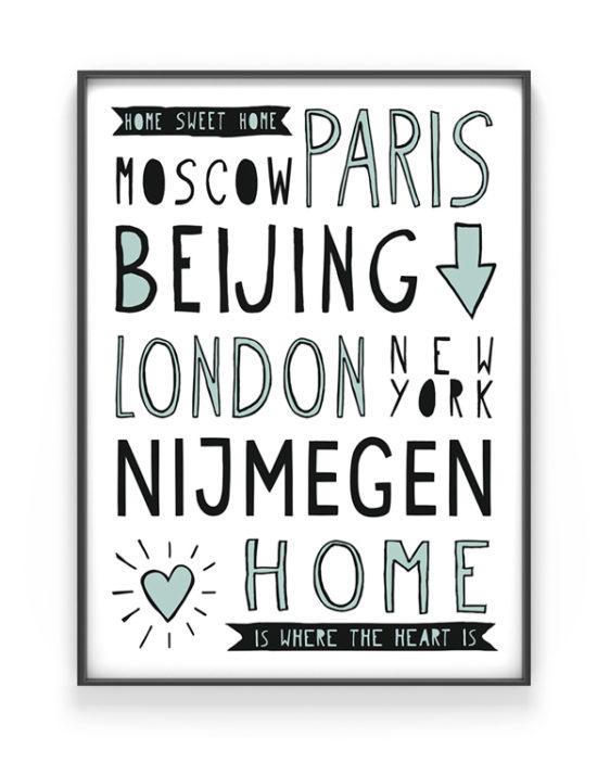 Poster Naam Stad - poster met naam van je woonplaats online zelf maken in zwart-wit net kleur accent (o.a mint en oker-geel) printcandy