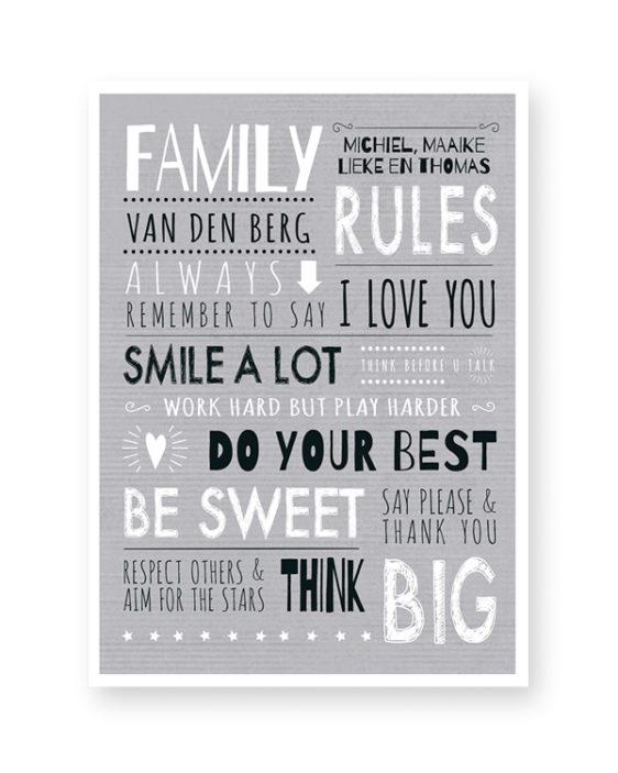 zwart-wit family rules poster met eigen tekst en namen. Online zelf posters maken in zwart-wit net kleur accent (o.a mint en oker-geel) #printcandy