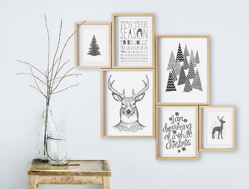 Zwart wit Kerst Posters ingelijst van Printcandy