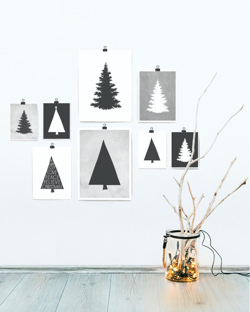 Zwart wit Kerst posters - Poster kerstboom - Printcandy