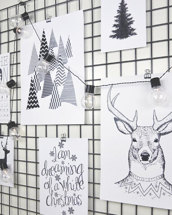 Zwart wit Kerst Posters op gaaspaneel met lichtjes