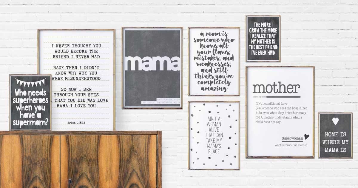 gepersonaliseerde Moederdag poster met eigen tekst in zwart-wit - Printcandy