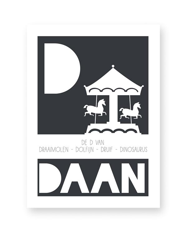 Zwart-wit Poster Kinderkamer - kraamcadeau met naam - Online zelf poster maken in zwart-wit of kleur - printcandy