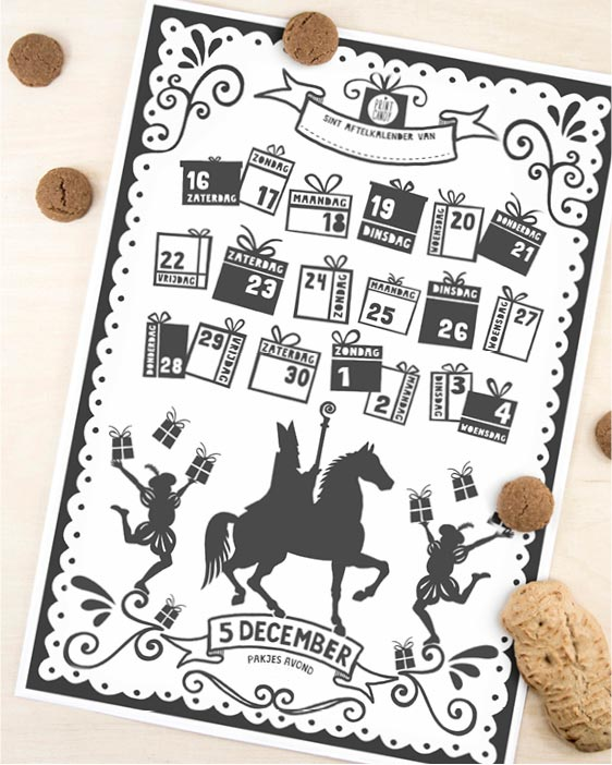 Sinterklaas Printable Aftelkalender | Gratis Sint Schoen Kalender | 5 December | Printcandy