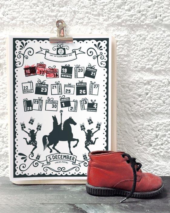 Sint Printable Aftelkalender | Gratis Sint Schoen Kalender | Printcandy Freebie