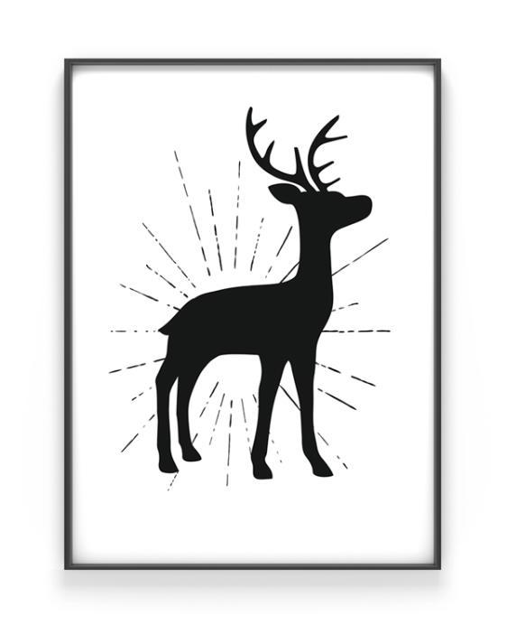 Kerst poster met hert silhouet - zwart-wit x-mas art prints online customizen - printable poster