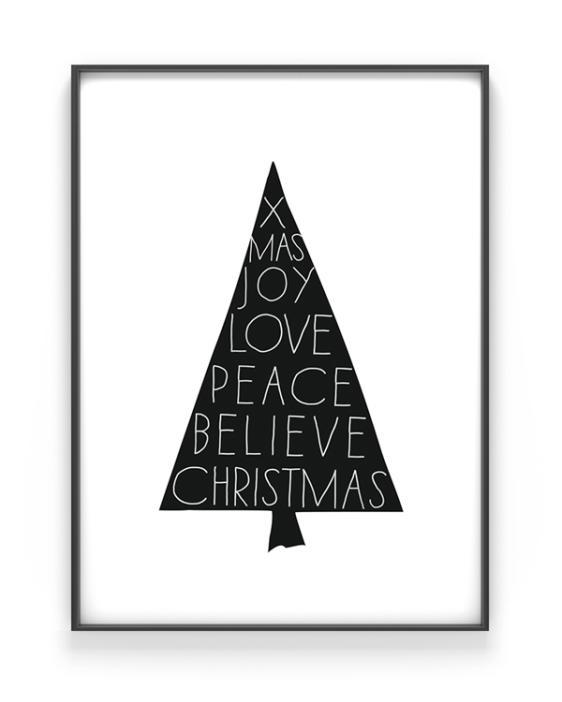 Christmas Tree - zwart-wit x-mas art-print met een kerstboom met woorden