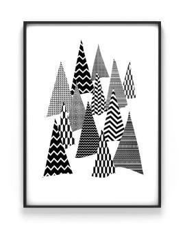 Zwart Wit Kerst Poster Denneboom van Printcandy - Printable kerstposters