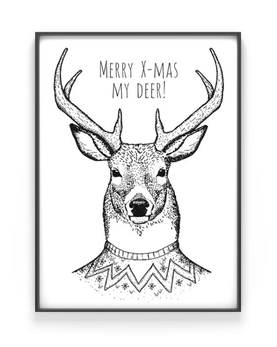 Merry Christmas my Deer Poster - Zwart Wit Kerst Poster Hert Printcandy