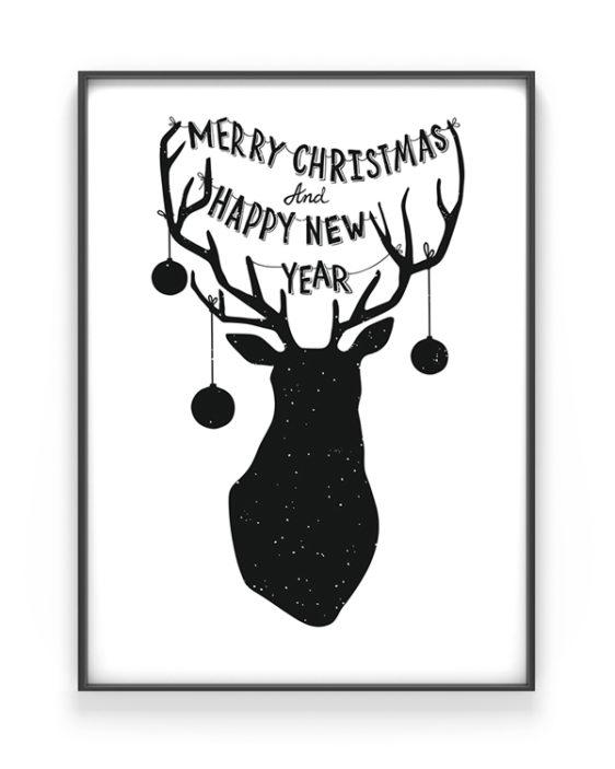 Kerst Gewei kerst poster - Zwart-wit kerstposter met eigen tekst zelf maken