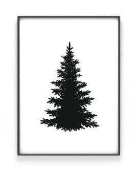 Kerstboom Silhouet Poster - zwart wit kerst poster met kerstboom van Printcandy