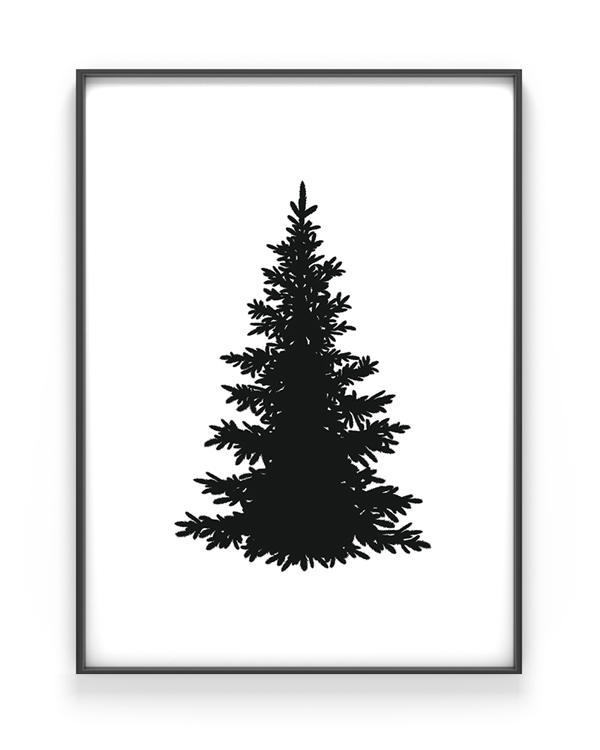 kerstboom silhouet print kerst poster zwart wit. Black Bedroom Furniture Sets. Home Design Ideas