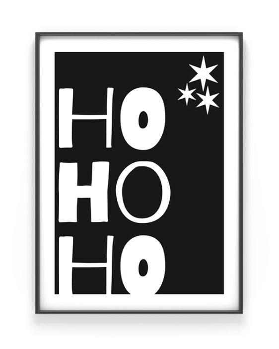 Zwart-Wit Kerstposter Ho Ho Ho Quote - Printcandy