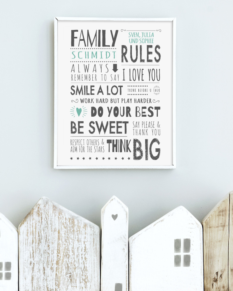 Printcandy Family Rules Poster gepersonaliseerd
