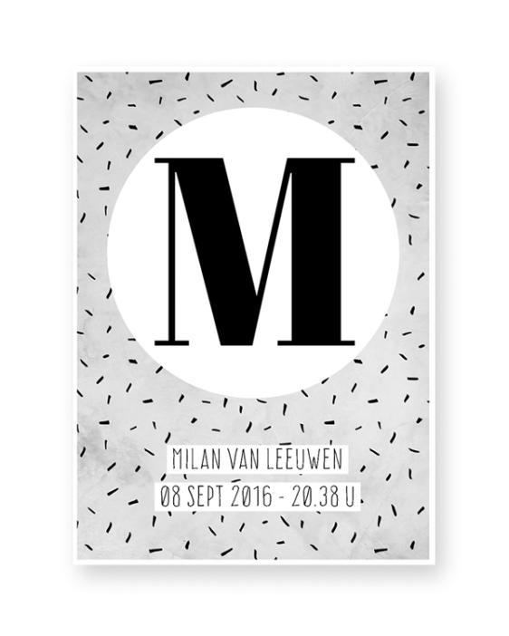 Gepersonaliseerde zwart-wit Letter met naam - Poster zelf maken bij Printcandy