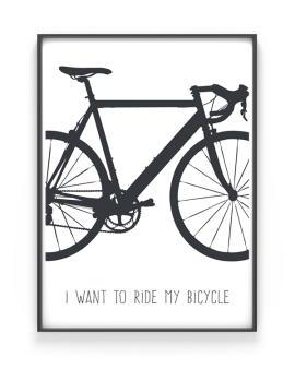 Racefiets Print - Poster met afbeelding Fiets - Zelf online Posters maken bij Printcandy - Met eigen tekst, in zwart-wit of kleur