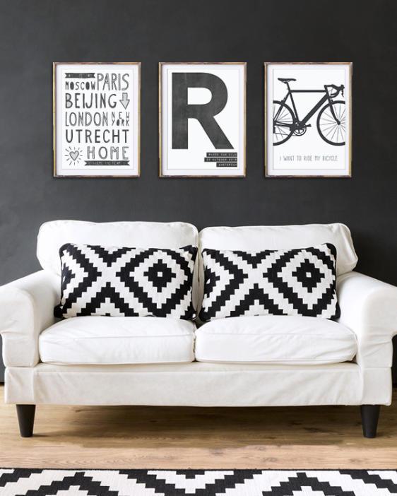 Zwart-wit Posters woonkamer- Zelf online Posters maken bij Printcandy - Met eigen tekst, in zwart-wit of kleur