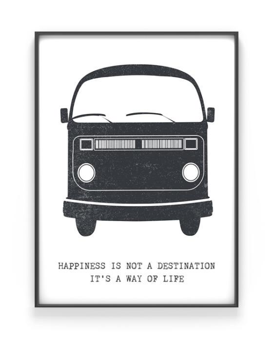 retro busje print - zwart-wit poster met volkswagen vintage bus - printcandy
