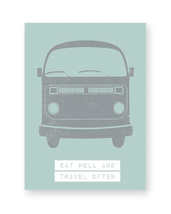mint groen met grijs poster met volkswagen vintage bus - printcandy