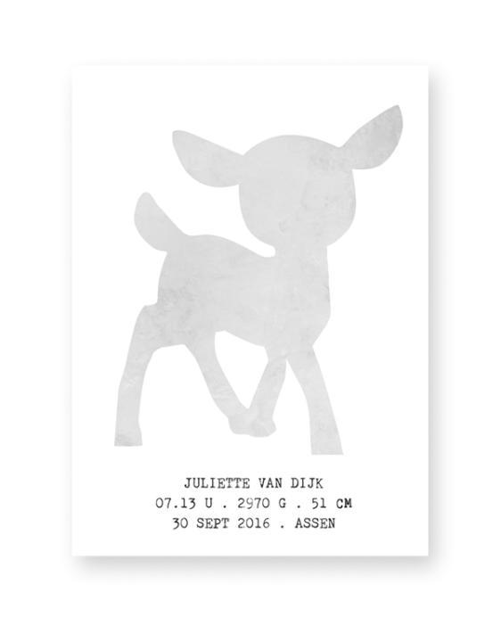 Hertje Poster - Gepersonaliseerde Poster voor Babykamer en Kinderkamer zelf maken - Met eigen tekst, in zwart-wit of kleur