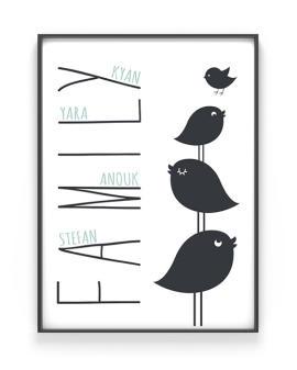 We are Family Poster - Gepersonaliseerde poster met vogeltjes gezin