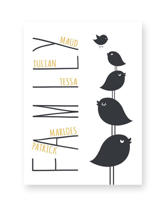 We are Family Print - Zwart-Wit Gepersonaliseerde poster zelf maken bij Printcandy