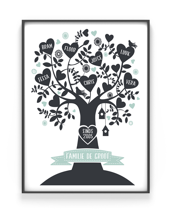 family tree poster stamboom family print met eigen namen. Black Bedroom Furniture Sets. Home Design Ideas