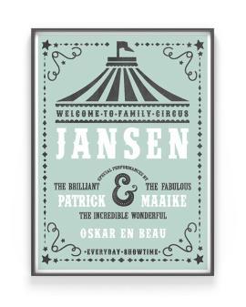 Family-Circus-Poster | Gepersonaliseerde familieposter met namen van het gezin | Printcandy
