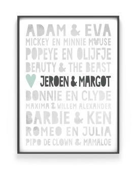 Famous Love Poster - Gepersonaliseerde trouw poster