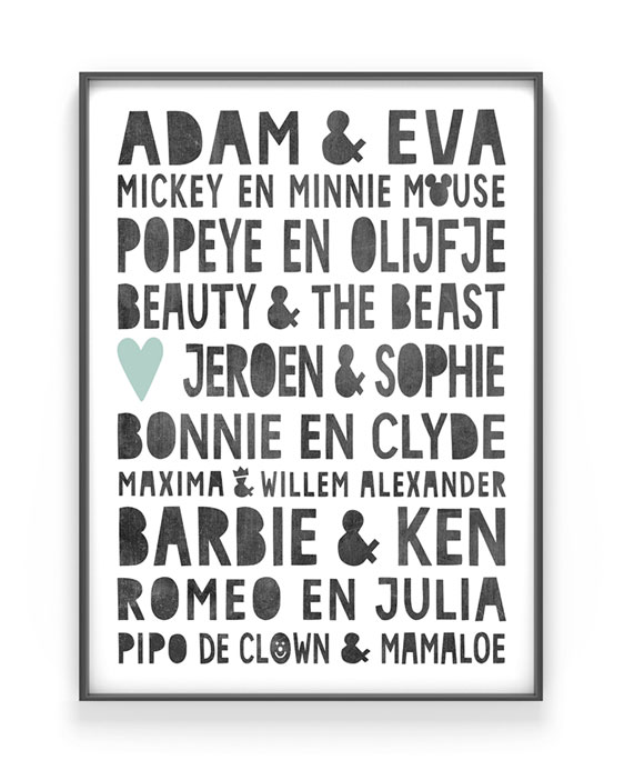 Famous Love Poster - Gepersonaliseerde trouw poster | Printcandy