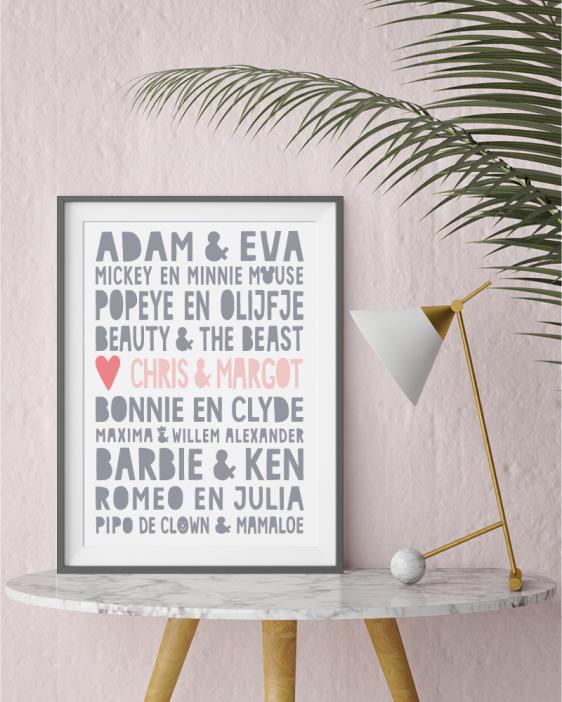 Famous Love Print- -Gepersonaliseerde zwart-wit Poster met beroemde stellen (o.a Adam en Eva, Romeo en Julia) plus eigen namen. Origineel en uniek cadeau voor Valentijnsdag of voor een bruiloft . Printcandy: In 3 simpele stappen zelf online printables en posters maken