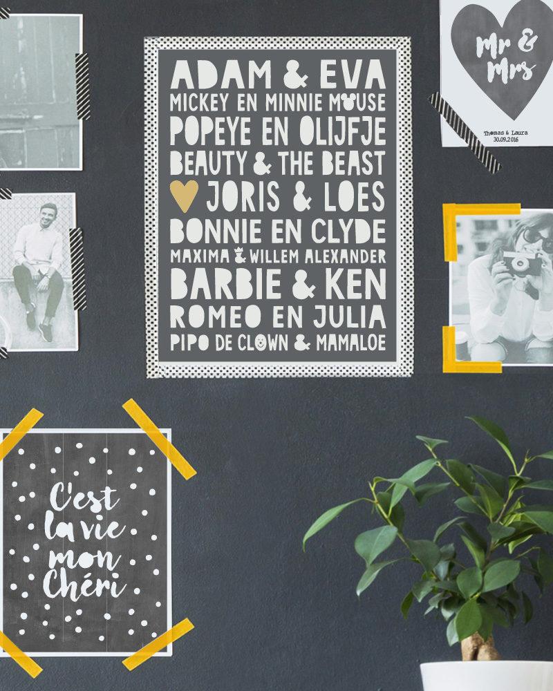 Muurcollage met zwart-wit afbeeldingen en Famous Love Print- -Gepersonaliseerde zwart-wit Poster met beroemde stellen (o.a Adam en Eva, Romeo en Julia) plus eigen namen. Origineel en uniek cadeau voor Valentijnsdag of voor een bruiloft . Printcandy: In 3 simpele stappen zelf online printables en posters maken
