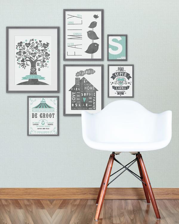 Familytree stamboom family print met eigen namen - Binnenkleuren met witte muur ...