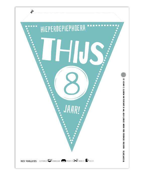 Printables, Feest Verjaardag vlaggetjes , D.I.Y , Gepersonaliseerd met eigen tekst of naam
