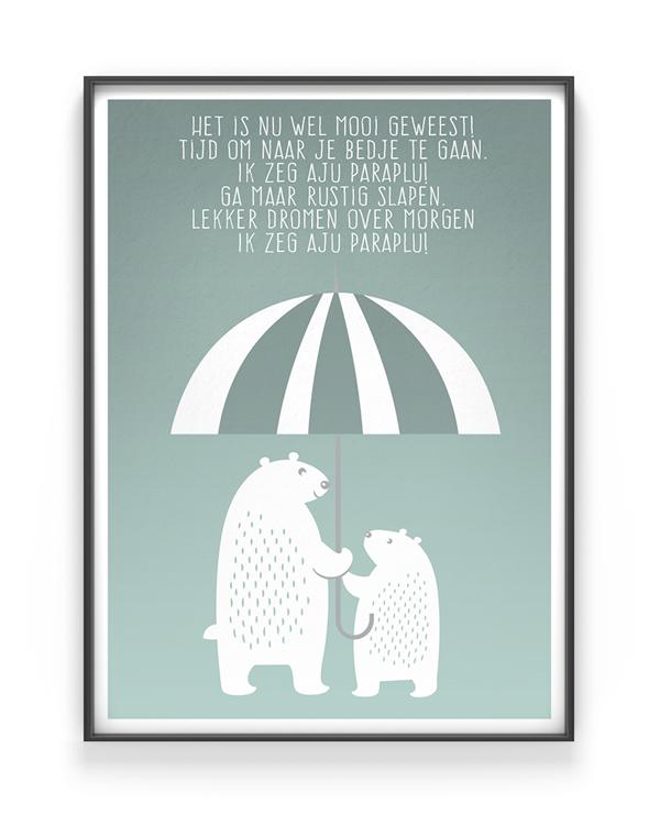 kinderkamer poster beren - pastel mint groen - beertjes onder een paraplu