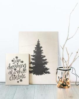 Kerst Poster Printable DIY op Hout printen