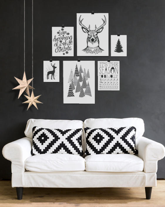 Zwart-Wit Kerstposter collage - 6 kerst art-prints - Printcandy