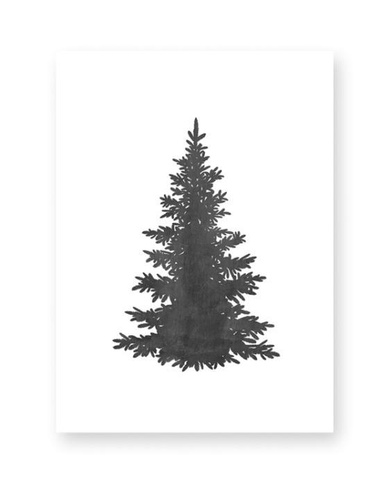 Zwart-Wit Kerst poster collage -x-mas art-print - Kerstboom