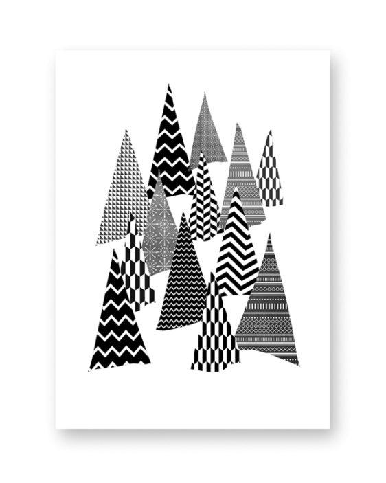 Zwart-Wit Kerst poster collage - 6 x-mas art-prints - Dennenboom
